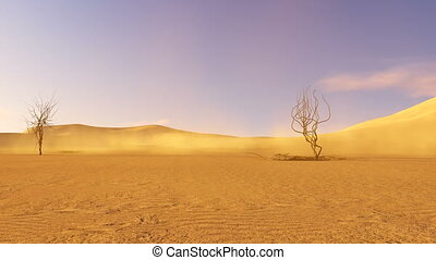 Sandy dunes and dead trees - Desert view with dead trees and...