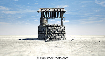 Wishing Well With Wooden Bucket On A Barren Landscape - A...