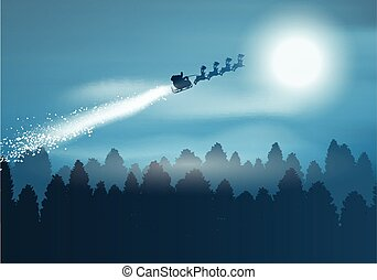 Santa in the sky - Christmas background with santa flying...