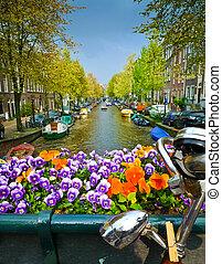 Bike and flowers on a Bridge in Amsterdam - Bike on a bridge...
