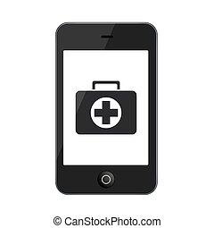 vector, moderno, smartphone, aislado, en, blanco,