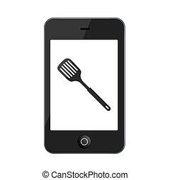 vettore, moderno, smartphone, isolato, su, bianco,
