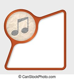 abstract frame with texture of crumpled paper and music icon