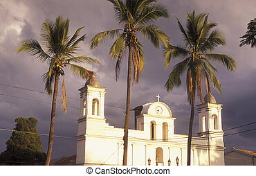 LATIN AMERICA HONDURAS COPAN - the churchi n the old town of...