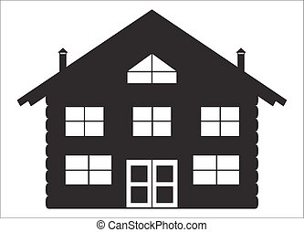 Log Chalet Silhouette - A log cabin silhouette isolated on a...