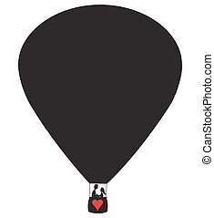 Lovers Hot Air Balloon - A hot air balloon silhouette with a...