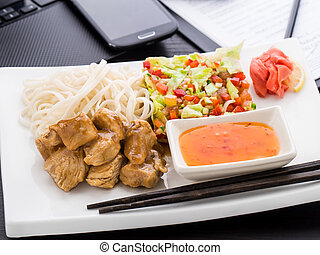 Quick asian style lunch in office - Quick asian style lunch...