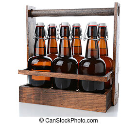 Antique Six Pack Beer Carrier - Closeup of an antique wooden...