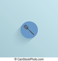Vector flat circle icon on blue background Eps10