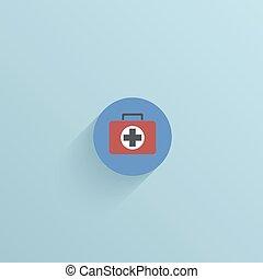 vector, plano, círculo, icono, en, azul, fondo.,...