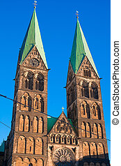Historic town hall and the cathedral in Bremen, Germany -...