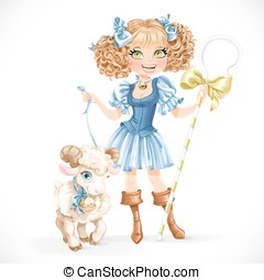 Cute shepherdess with lamb isolated on a white background