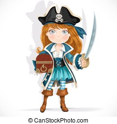 Cute pirate girl with cutlass and treasure chest isolated on a white background