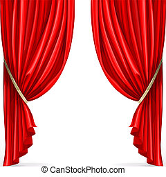 Red curtain collected in folds ribbon isolated on a white...