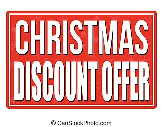 Christmas discount offer red sign isolated on a white...