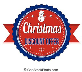 Christmas discount offer badge on white background, vector...