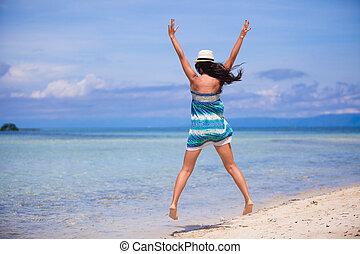 美しい, 女, 若い, 持ちなさい, 楽しみ, 浜