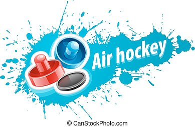 Mallets and puck for air hockey game - Mallets and puck for...