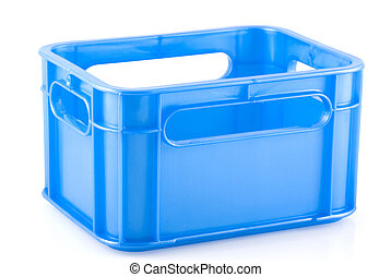 Crate. - Empty blue crate, isolated on white.