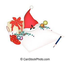 Christmas Item and Gift Box on Blank Page