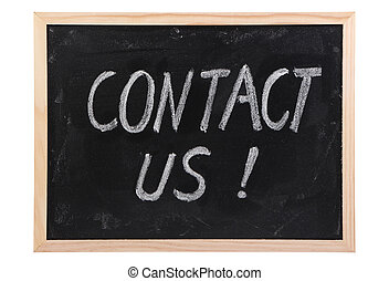 Contact Us text written on blackboard isolated on white...