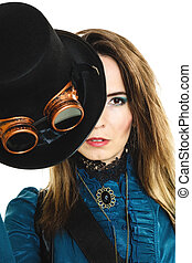 retrato, de, hermoso, steampunk, mujer, isolated.,