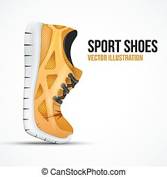 Running curved orange shoes. Bright Sport sneakers symbol.