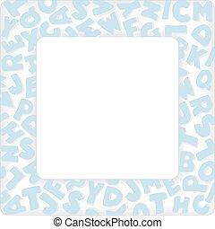 Alphabet Frame, Baby Blue Pastel - Alphabet Frame, square...