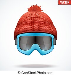 Knitted woolen red cap with snow goggles Winter seasonal...
