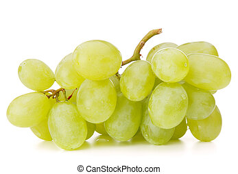 Green grape bunch = - Green grape bunch isolated on white...