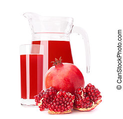 Pomegranate fruit juice in glass pitcher isolated on white...