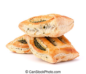 Puff pastry bun isolated on white background. Healthy patty...