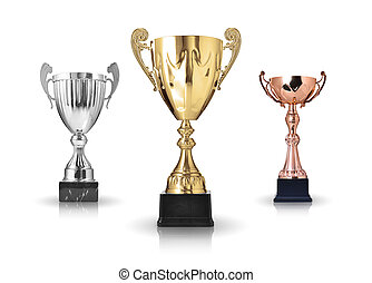 trophies - three different kind of trophies Isolated on...