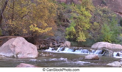 Virgin River Zion National Park - a small waterfall on the...