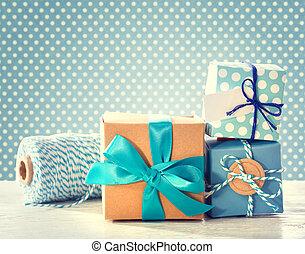 Light blue handmade present boxes - Light blue handmade gift...