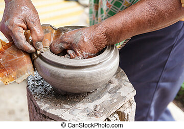 Hand made clay pots , Thai traditional pottery