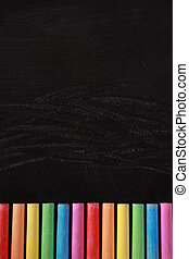 Blank Blackboard With Colorful Chalks - Blank blackboard...