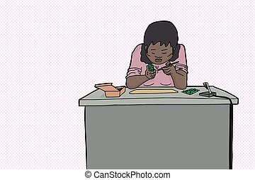 Woman Using Soldering Iron - One cartoon woman using...