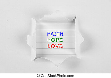 Faith, Hope, Love - Faith, hope, love on note paper with...