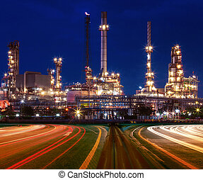 beautiful lighting of oil refinery plant in industry estate...