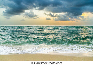 sea waves in Miami witzh cloudy sky in bad weather