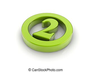 number 2 - green reflective number 2 in a circle isolated...