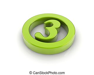 number 3 - green reflective number 3 in a circle isolated...