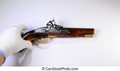 English Flintlock Pistol - 18th century English flintlock...
