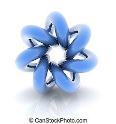 3D helix shape - 3D blue metallic curve surface shape...