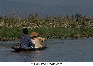 Alone boat in Inle lake of Shan state in Myanmar.