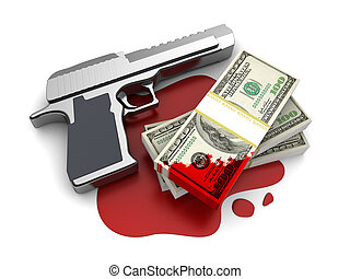 blood money - 3d illustration of gun and blood money, over...