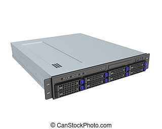 server - 3d illustration of single server rack over white...