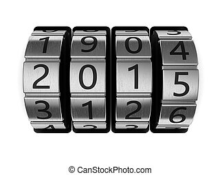 new year code - 3d illustration of 2015 code lock, new year...