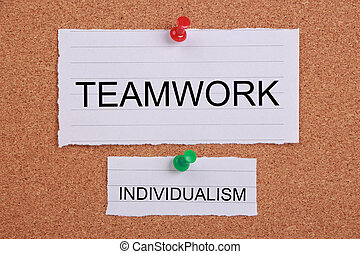 Big Teamwork and Small Individualism - Teamwork concept...